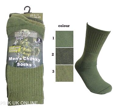 Mens Army Long Military Thermal Warm Winter Socks Olive Size 6-11 Pairs 1,3,6