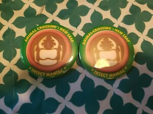 Nintendo Animal Crossing New Leaf buttons lot of 2 Promo -