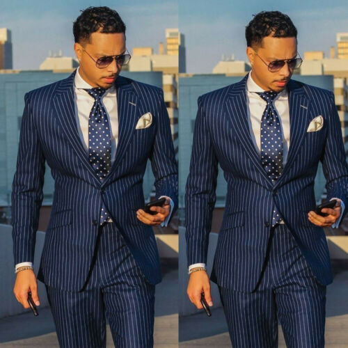 Navy Blue Striped Mens Tuxedos Groom Business Party Wedding Suit Tailored Custom