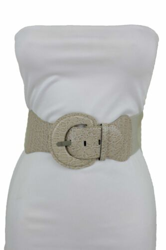 Women Fashion Light Beige Faux Leather Stretch Band Belt Casual Outfit XS S M