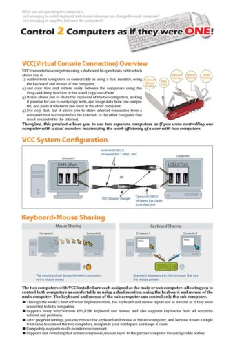 Clixon VCC-300 Connect Multiple Windows Computer Virtual Console Connection USB