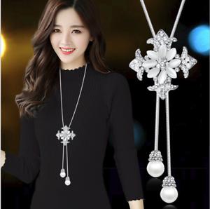 Damen-Halskette-mit-Anhaenger-Silber-lange-Kette-Mode-Schmuck-Geschenk-elegant