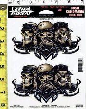 No Evil Skulls Window Decal Bumper Sticker for Car/Truck/Motorcycle/Laptop 6304