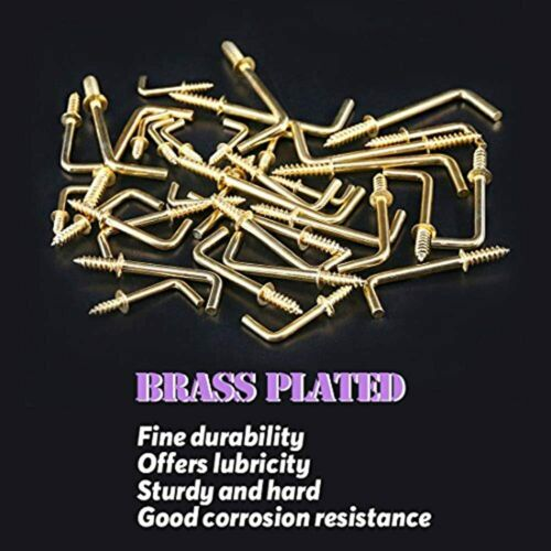 Screws 120Pcs 6 Sizes Gold Brass Plated Metal Screw-in Square Bend Hooks Kit