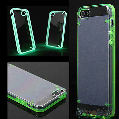 TRANSPARENT GEL SILICONE HYBRID CASE COVER LUMINOUS GLOW FOR APPLE IPHONE 4 5 6