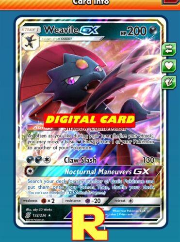 for Pokemon TCG Online Weavile GX Regular DIGITAL ptcgo in Game Card