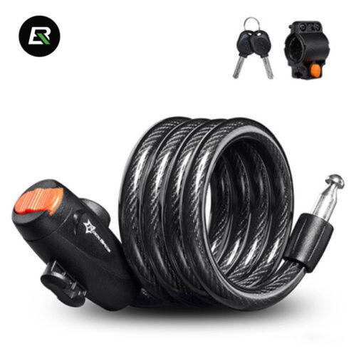 RockBros Bike Lock Steel Cable Lock Flex Key Coil Safety Lock 115cm With 2 Keys