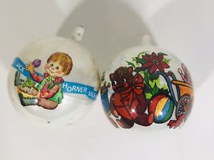 Vintage-Christmas-Holiday-Tree-Ornaments-1975-Bradford-Novelty-Set-Of-2-Kids