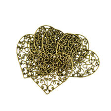"14283 Pkg of 10 FLOWER Antique Bronzed FILIGREE WRAPS 2-1//4/"" 57mm"