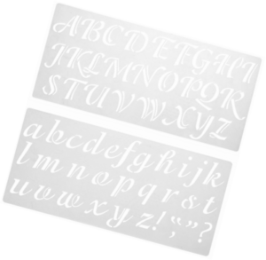 Darice 121724 Calligraphy Font Upper and Lower Case Alphabet Stencil 2-Inch