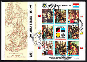 Paraguay-1988-First-Day-Cover-750-Jahre-Berlin-cachet-Paintings-Art-stamp-sheet