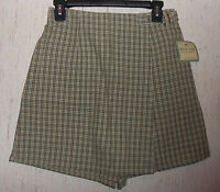 Womens White Stag Olive Green Plaid Skort Size 6