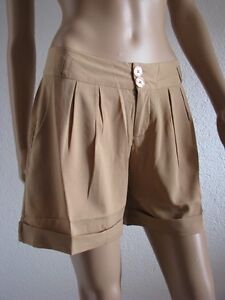Trendi-Damen-Shorts-Hot-Pants-Hose-kurz-Gr-34-36-38-40-42-camel-NEU-SALE-019