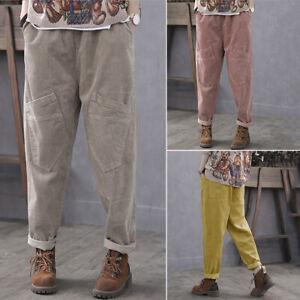 Mode-Femme-Jambes-larges-Pantalon-Casuel-en-vrac-Poches-laterales-Loisie-Loose