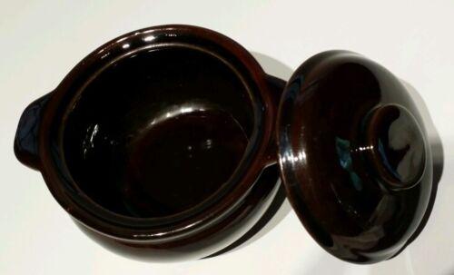 NEW Neiman Marcus Dark Brown French Onion Soup Crock Bowl w// Lid