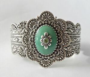 Carolyn-Pollack-Relios-Sterling-Silver-Variscite-amp-Peridot-Cuff-Bracelet-H570