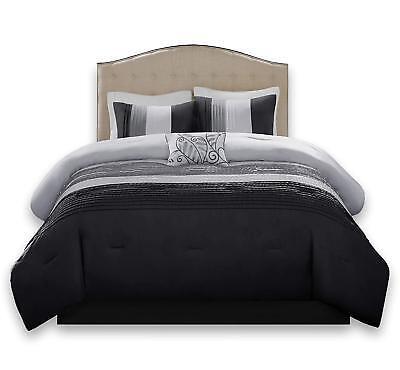 BEAUTIFUL MODERN CHIC GREY BLACK WHITE TEXTURE LEAF PINTUCK CASUAL COMFORTER SET