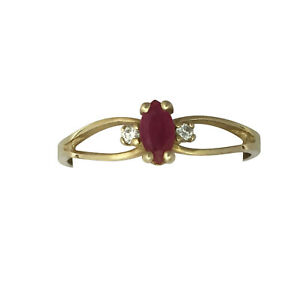 Marquise-Ruby-and-Diamond-Ring-14K-Yellow-Gold