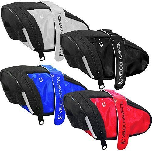 Black Blue Red or White Saddle Bag VeloChampion Slick Bike Seat Pack