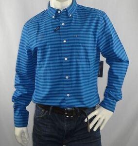 Tommy-Hilfiger-Mens-Pierce-Stripe-Long-Sleeve-Shirt-size-Small