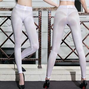 WOMEN Zipper Open  Crotch See Through Trousers Ice Silk Leggings Transparent