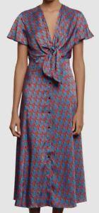 $698 Sandro Womens Blue Red Catny V-Neck Satin Tie-Front Midi Dress Size 34/US 2