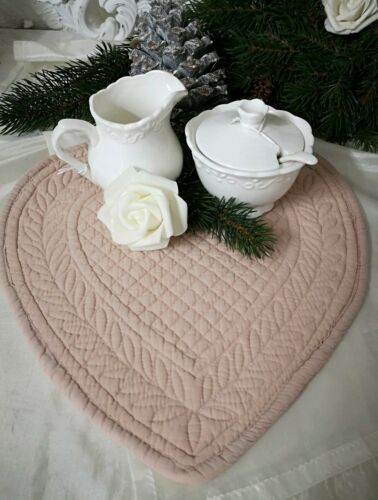 Tischset pisos tapetes corazón rosè Shabby vintage landhaus 30cm