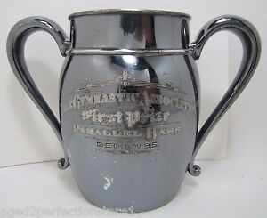 Antique-1895-YALE-Gymnastic-Assn-1st-Prize-Parallel-Bars-Award-Trophy-silver-plt