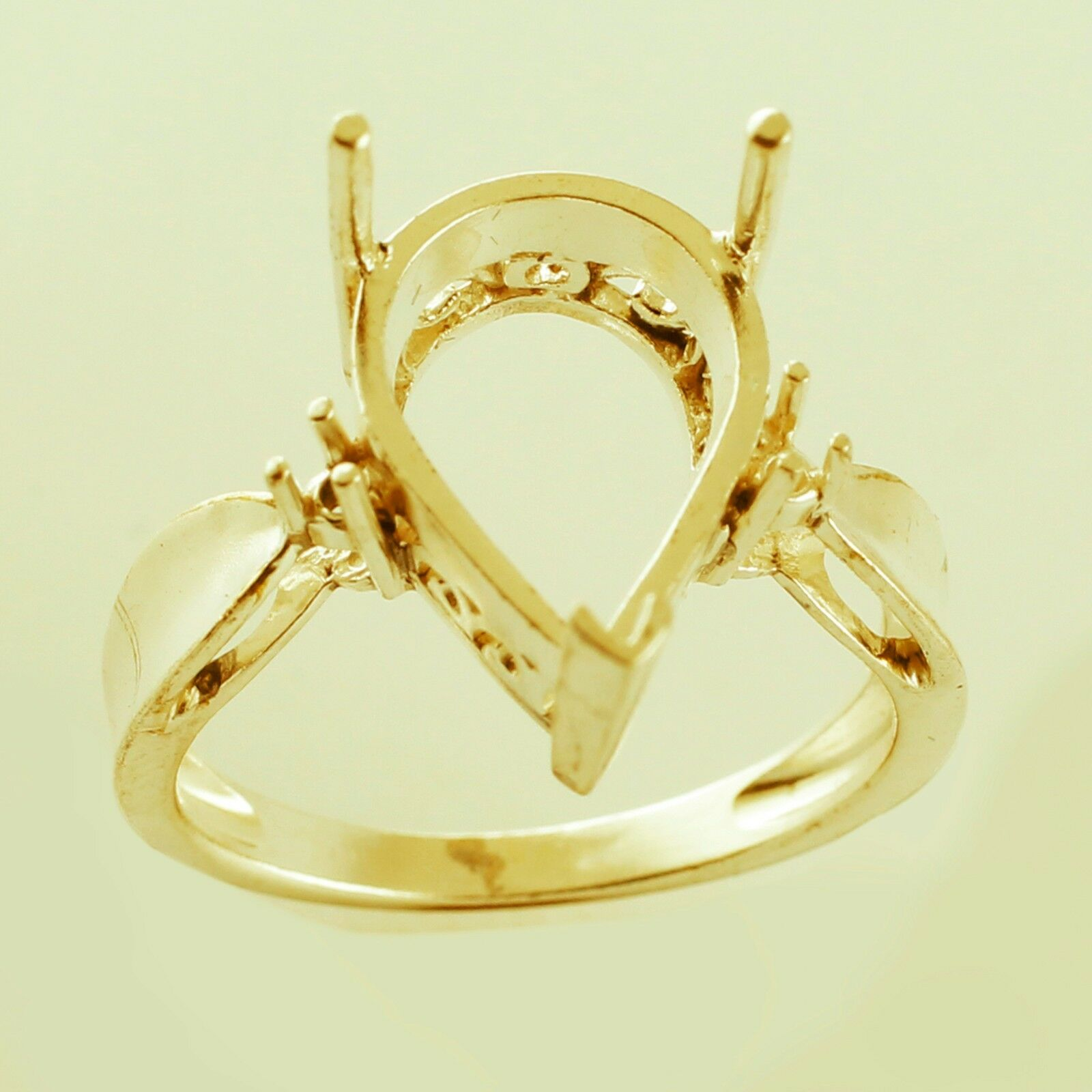 Semi Mount 10x15 MM Exotic Pear Shape Ring Solid gold Engagement Women Jewelry