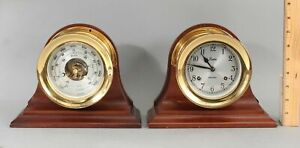 Authentic-CHELSEA-Ships-Bells-Gilt-Brass-Clock-amp-Barometer-amp-Mahogany-Stands