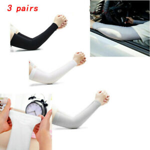 3 Pairs Cooling Arm Sleeves Cover UV Sun Protection Sports For Men Women Outdoor