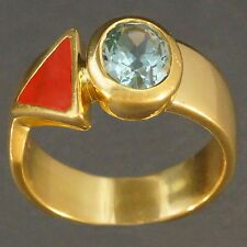 Manfredi, Retro Modern, Solid 18K Yellow Gold, 2.25 ct Blue Topaz & Enamel Ring