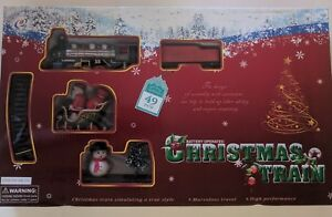 CHRISTMAS-TOY-TRAIN-49-Pieces-ENGINE-SET-TRACK-STATION-amp-TREES-ROUND-W-SANTA