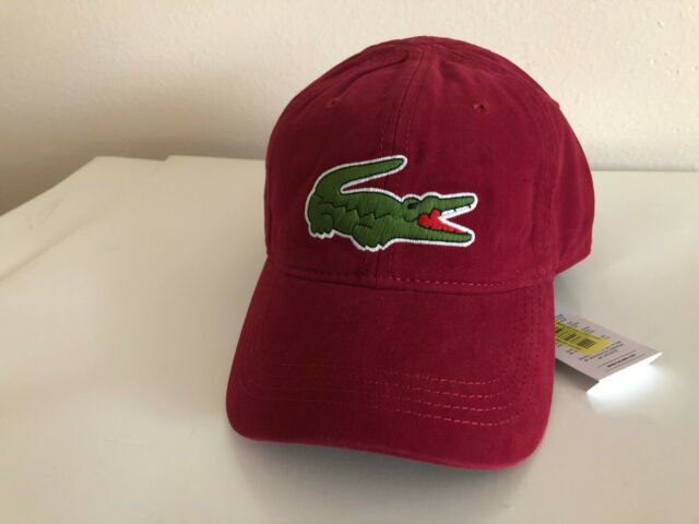 5d5a0207 Lacoste Men's Cotton Gabardine Hat Baseball Cap Large Crocodile / Bordeaux