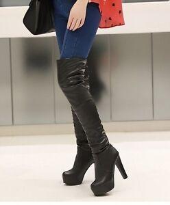 Bottes-Cuissardes-Aspect-Cuir-Mode-Fashion-Haut-Talon-carre-P35-45-NEUVES