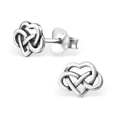 925 Sterling Silver Celtic Heart Trinity Knot Kids Girls Women Stud Earrings