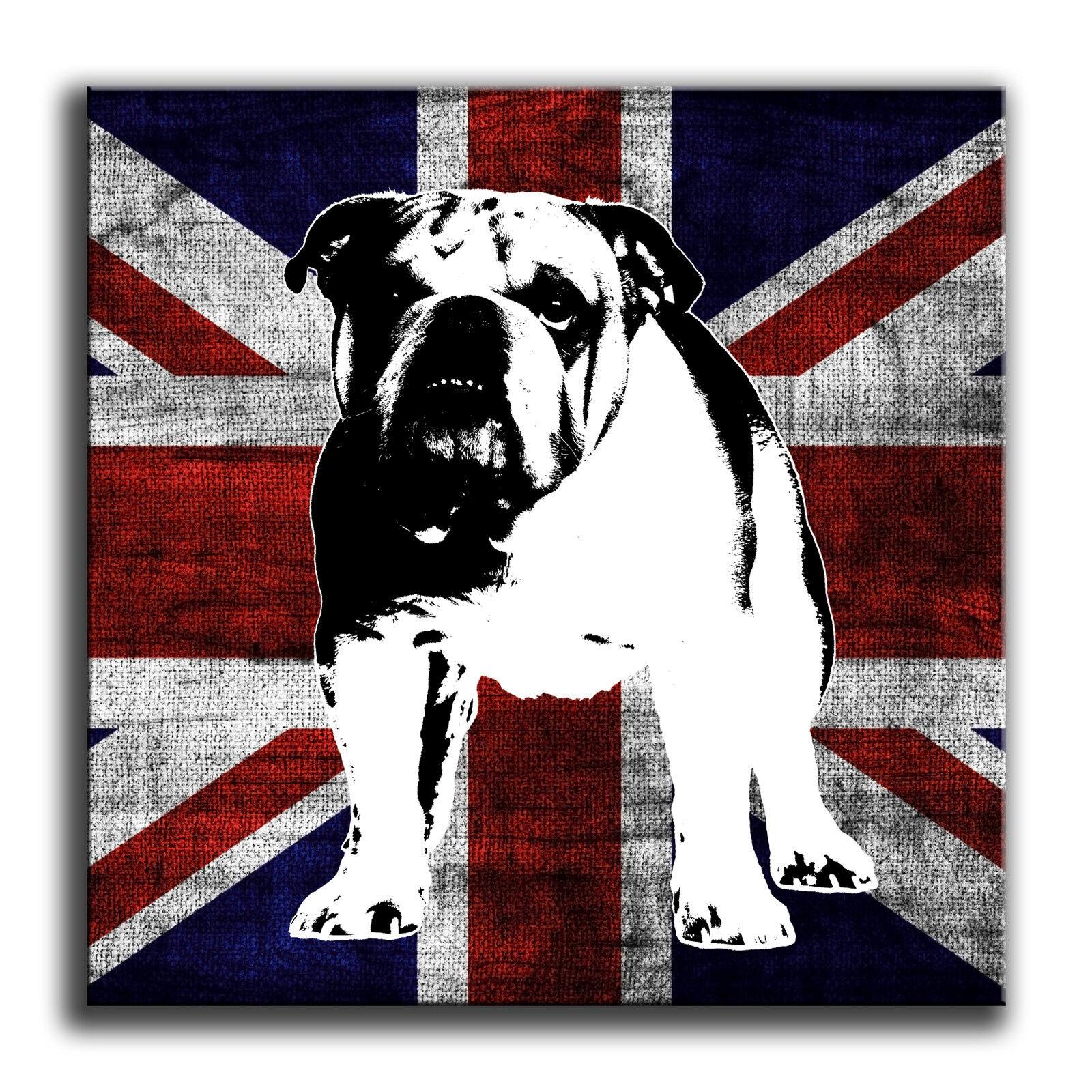 Union jack britannique bulldog canvas wall art print encadrée boîte encadrée print imprimer 96c1a5