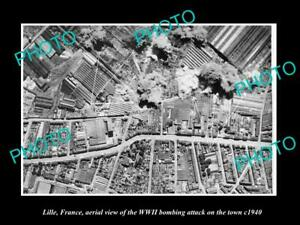 OLD-POSTCARD-SIZE-MILITARY-PHOTO-LILLE-FRANCE-AERIAL-VIEW-WWII-BOMBING-c1940