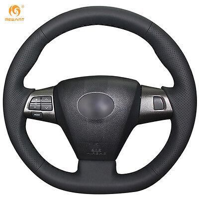Black Leather Steering Wheel Cover Wrap for Toyota Corolla RAV4 #FT05