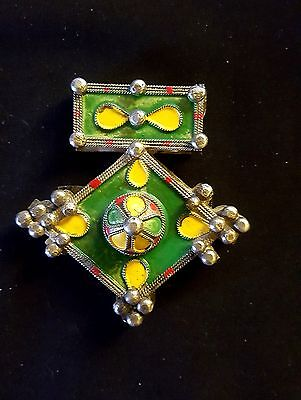 BOGHDAD 84g KABYL TRIBE-LARGE SILVER ENAMEL and NATURAL RED CORAL CROSS PENDANT