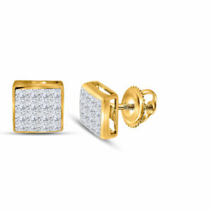 14kt-Yellow-Gold-Womens-Princess-Diamond-Square-Cluster-Stud-Earrings-3-8-Cttw