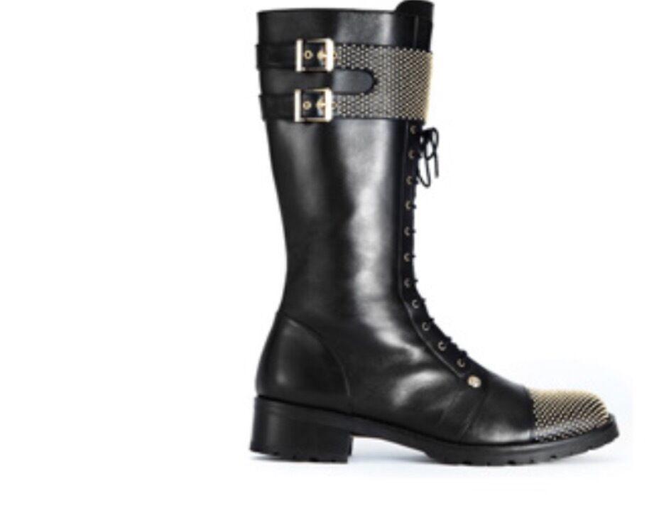 810 Versus Versace Con Con Con Cordones botas De Cuero Mujer oro Studed, tamaño 39  ventas en linea