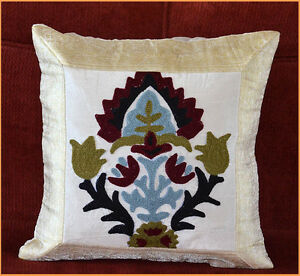 GREEN SILK FLORAL EMBROIDERY BROCADE PILLOW COVER CUSHION COVER FROM INDIA