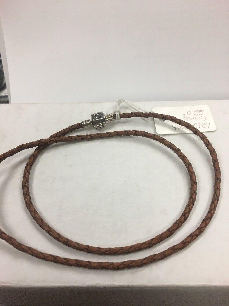 Chamilia Leather Wrap Around Bracelet 22.2 Inches Cognac