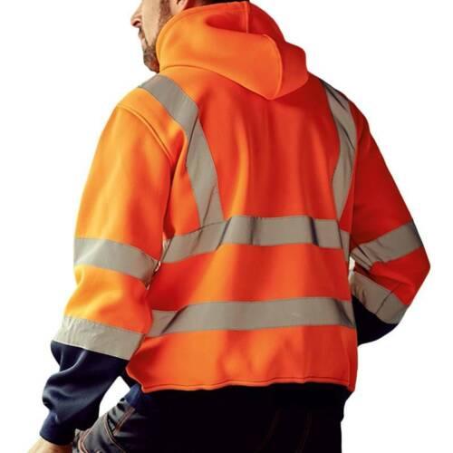 Hi-Vis Viz HIGH VISIBILITY Insulated Safety Mens Reflective Hoodies Jacket Coats