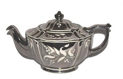 Vintage SADLER Mirror Silver Finish White Floral Design Teapot England 2006 VJ