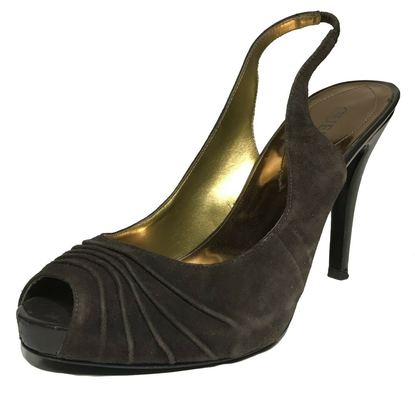 Guess Woman's Pumps, Suede Brown - Size 8