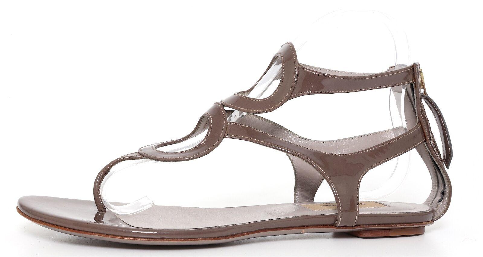 Valentino Valentino Valentino Garavani Women's Patent Leather Grey Brown Sandals 2222 Sz 37.5 EUR f8eaee