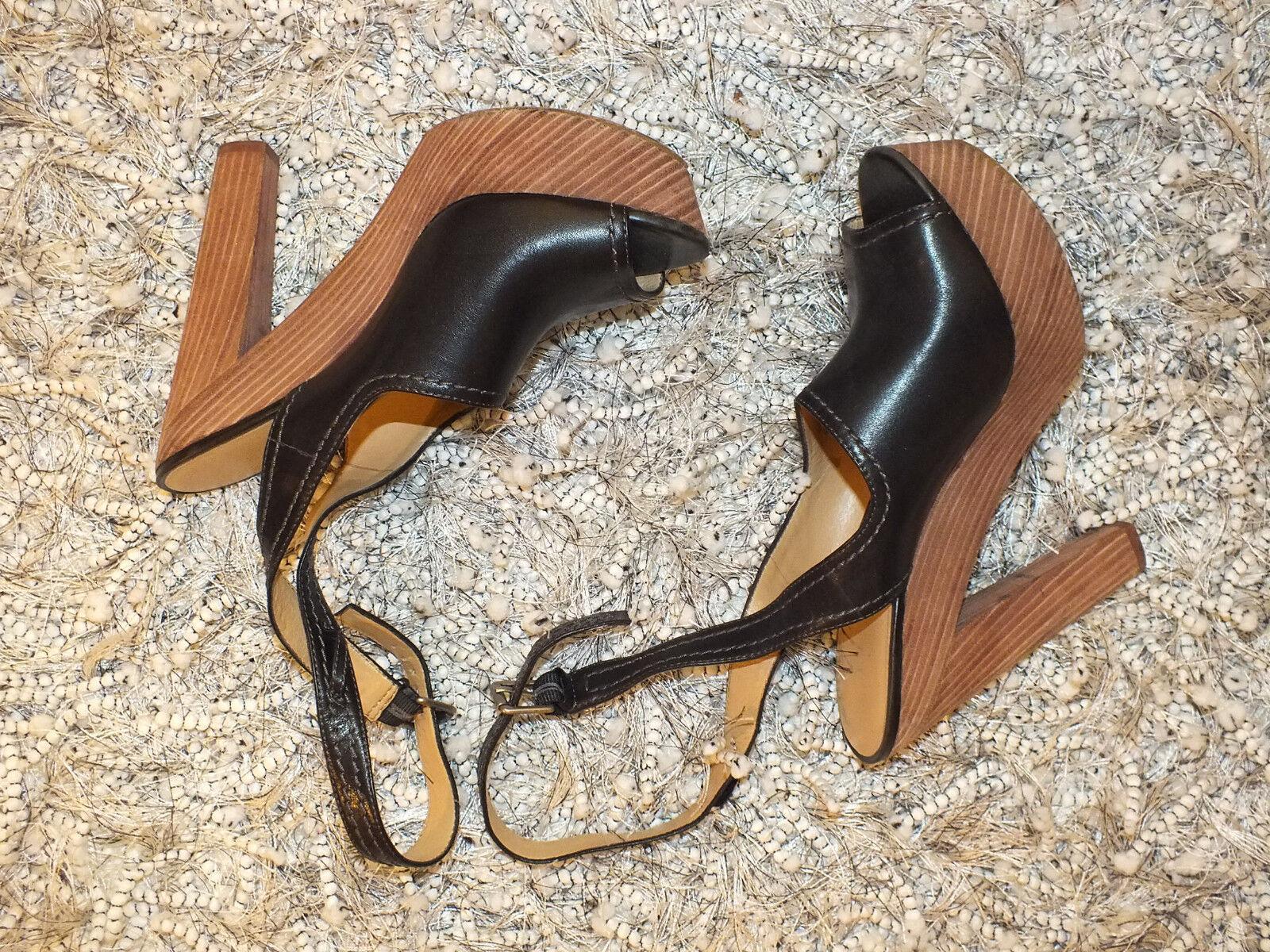 NINE WEST LEATHER WOODEN HIGH HEELs PLATFORM BLOCK STRAPPY Schuhe Sandales 8m