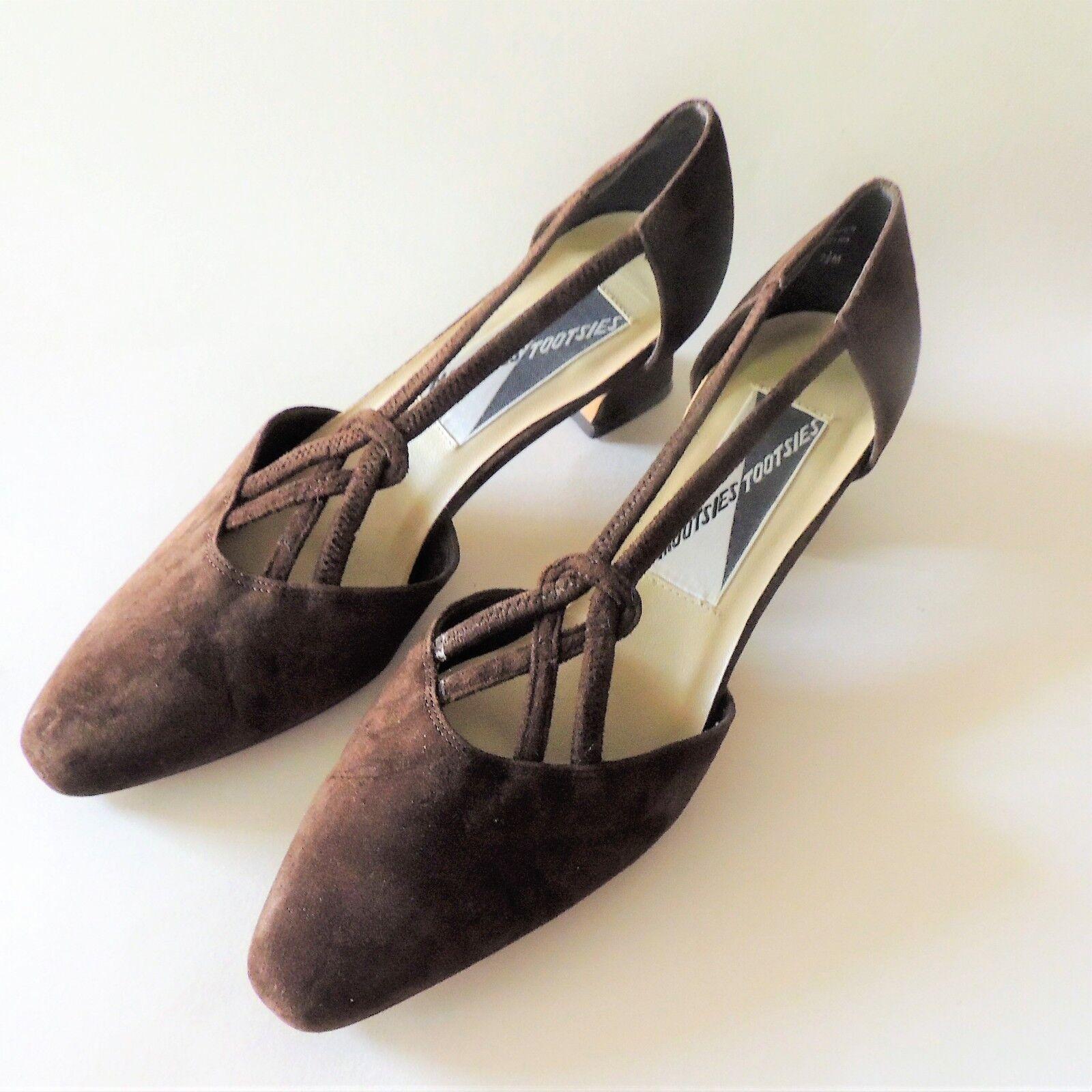 Mootsie Tootsie Suede Heels Size 7.5 Brown Suede Tootsie 2c839f